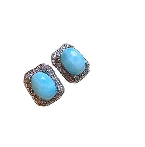 Makluce 2 unids Larimar Stein Aguamarina, Pendientes de Patrón de Sea Pendientes Mujer Pendientes de Cristal Pendientes Regalos de Cumpleaños de Joyería (Color : Blue)