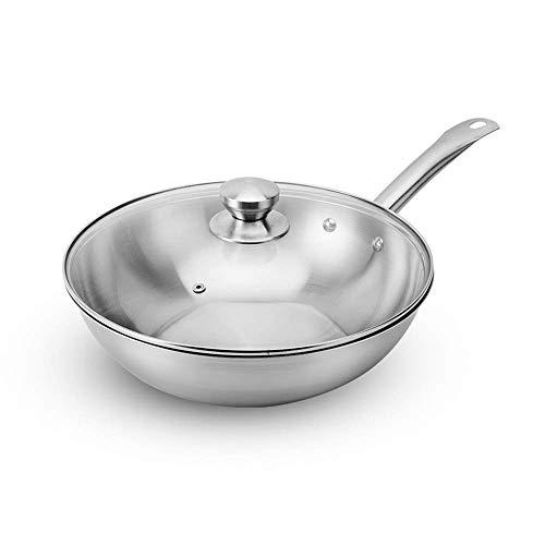 YAeele Wok sin Recubrimiento Antiadherente Wok de 30 cm de Acero Inoxidable Adecuado for Todo Tipo de cocinas incluida la inducción (Color: Color de la Foto, tamaño: 30 cm)