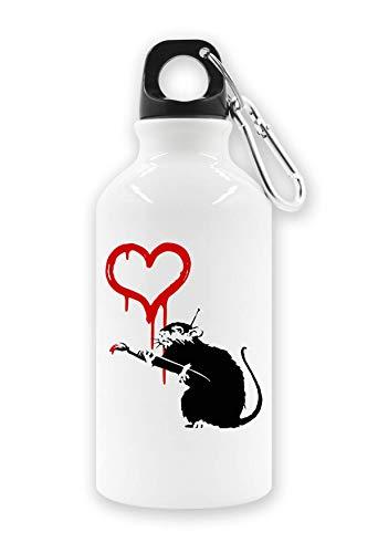 Banksy Rat Schilderij Rood Hart Toeristische Waterfles