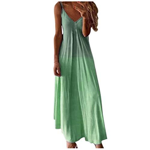 riou Mujer Vestido Elegante Casual Playa Teñido Anudado Dress Cuello V Sin Mangas Falda Larga Fiesta Cóctel Falda Larga Chic de Noche Playa Vacaciones