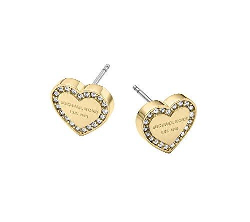 Michael Kors MK Logo Heart Goldtone Post Earrings