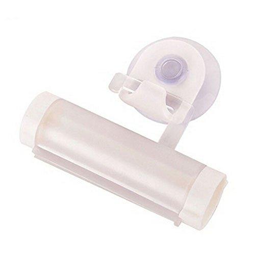 Distributeur de dentifrice en plastique Tube à presser Support à crochet et ventouse Pour crèmes cosmétiques gels et peintures, Plastique, blanc, Taille M