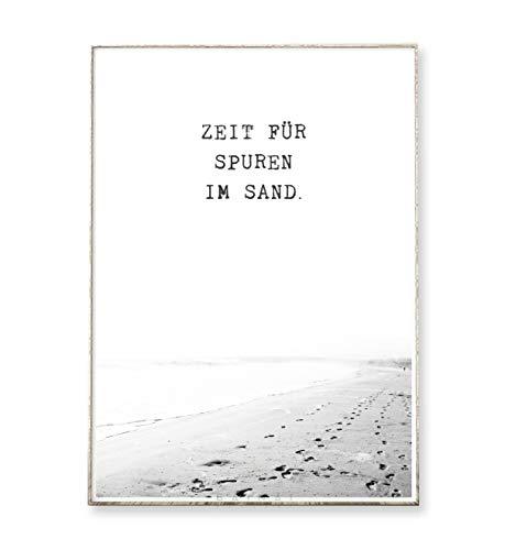 DIN A4 Kunstdruck Poster SPUREN IM SAND -ungerahmt- Sand, Meer, Ozean, Typografie, Reisen, Inspiration, Küste
