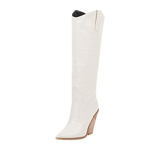 HENWERD Women's Chunky Heel Knee High Boots Comfortable Pointed Toe Western Cowboy Boots (White,6.5-7 US)
