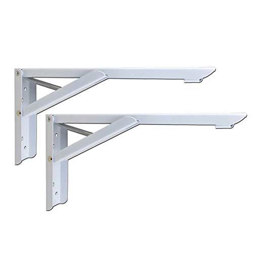 F-XW Soportes plegables para estantes de metal de 8/13′ estantes plegables para montar en la pared, soporte triangular para mesa de trabajo, ahorro de espacio, carga máxima de 200 libras, 2 unidades, metal, marrón, 290mm/11.4″