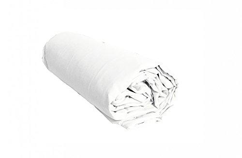 Salomé Prestige Drap Housse uni Percale de Coton 80 Fils - 140x190 - Bonnet de 30cm - Blanc