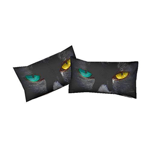 Ensemble de Literie Housse de Couette Chat Noir Blanc Gris, Textile de Maison en Polyester (Taie d'oreiller + Housse de Couette) Parure de Lit pour 1/2 Personnes (Chat 3, 2 Pcs Taie d'oreiller)