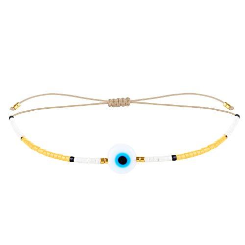 KELITCH New Miyuki Beaded Bracelets Beach Friendship Bracelets for Women-Yellow F