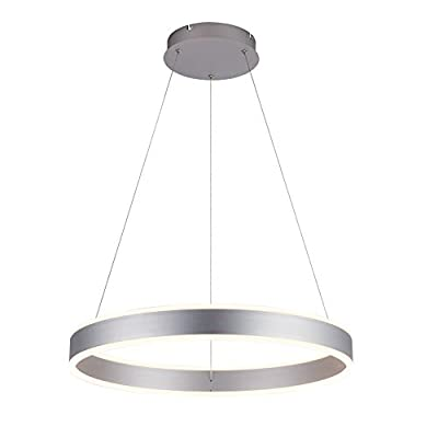 ROYAL PEARL Modern Foyer Pendant Light Dimmable 6460lm 76W LED Chandelier Adjustable Hanging Pendant Lighting for Living Dining Room Bedroom, 6000K, Silver