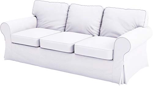 Ektorp 3 Seat Sofa Cotton Cover Replacement is Custom Made Slipcover Compatible for IKEA Ektorp Sofa Cover (White Flax Cotton)