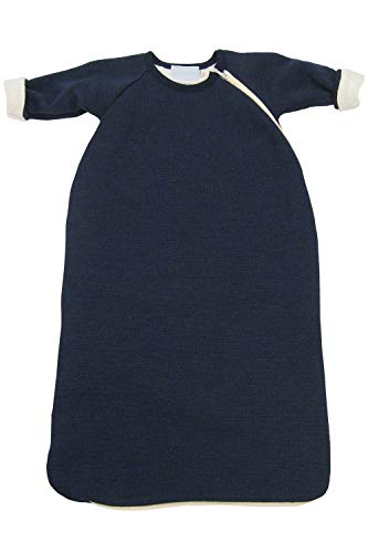 Baby Toddler Winter Sleeping Bag Wearable Blanket with Sleeves, Organic Merino Wool Cotton, Sizes 3M – 3T (EU86-92 | 12-18 months, Navy Blue)