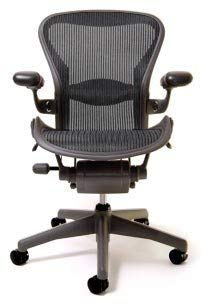 Herman Miller Fully Loaded Aeron Chair w/Lumbar Support - Carbon Classic - Size B (Renewed)