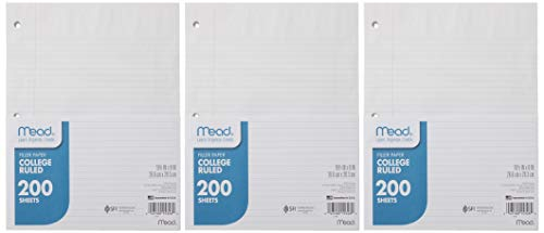 """Mead Loose Leaf Paper, College Ruled, 200 Sheets, 10-1/2' x 8"""", 3 Hole Punched for 3 Ring Binder, Writing & Office Paper, Perfect for College, K-12 or Homeschool, 3 Pack (73185)"""