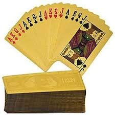 ARFA - Aaina 24 K Gold Plated Playing Poker Cards, 60x21x88mm, 1 Set of Playing Cards.