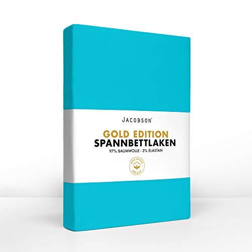 Jacobson Gold Edition Jersey Spannbettlaken Spannbetttuch Baumwolle mit ELASTAN ca....