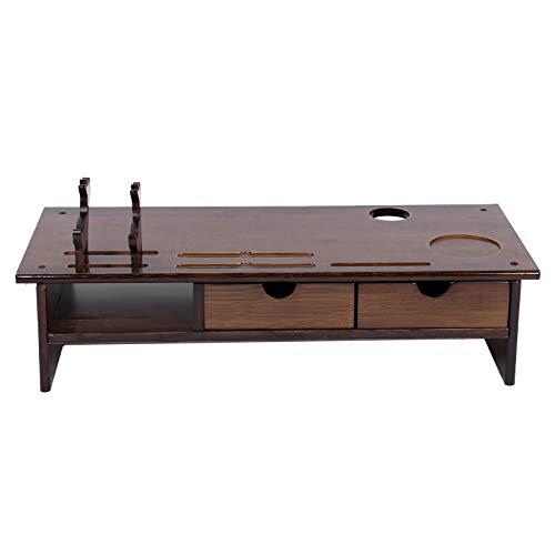 Zerone Elevador de Pantalla de Ordenador, Soporte para Monitor de Bambú Ergonómico con 2 Cajones