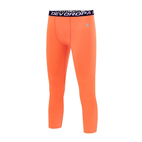 Devoropa Youth Boys Compression Pants 3/4 Length Sports Tights Leggings Soccer Basketball Base Layer Orange S