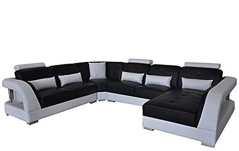 JVmoebel Sofá esquinero con cojín de piel para sofá en forma de U, moderno