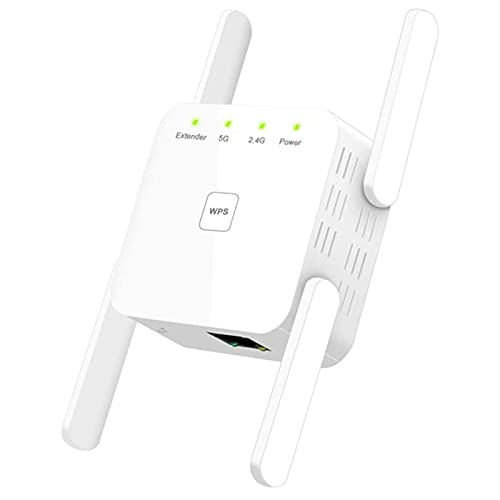 Runtodo WiFi Amplifier 1200 Mbit/S WiFi Repeater 867 Mbit/S / 5 GHz 300 Mbit/S (2.4 GHz) Dual Band WPS,UK Plug