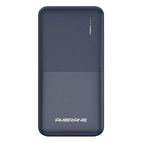 Ambrane 10000mAh Li-Polymer Powerbank with Compact Size & Fast Charging for Smartphones, Smart Watches, Neckbands & Other Devices (Capsule 10K, Blue)