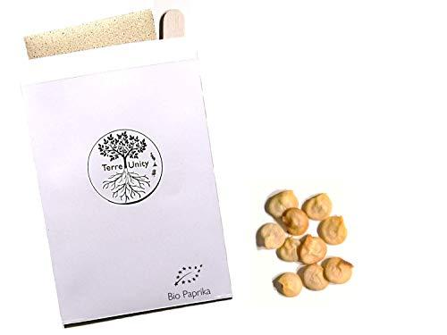 TerreUnity - 10 x Paprika Rot Bio Saatgut für Garten, Hochbeet & Gewächshaus - Gemüse Paprikasamen für Gemüsegarten zum Pflanzen nachhaltig - Gemüse-Samen Saat mit Anwenderstäbchen