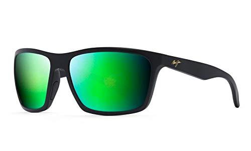Maui Jim Men's Makoa Wrap Sunglasses, Matte Black/Green Mirror Polarized, Large