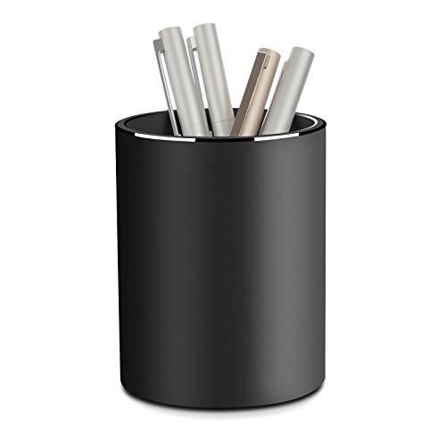 Vaydeer Metall Stiftehalter Runder Aluminium Stifteköcher Schreibtisch Organizer und Bleistift Aufbewahrungsbox für Büro, Schule, Haushalt und Kinder, 8x10 cm, Schwarz