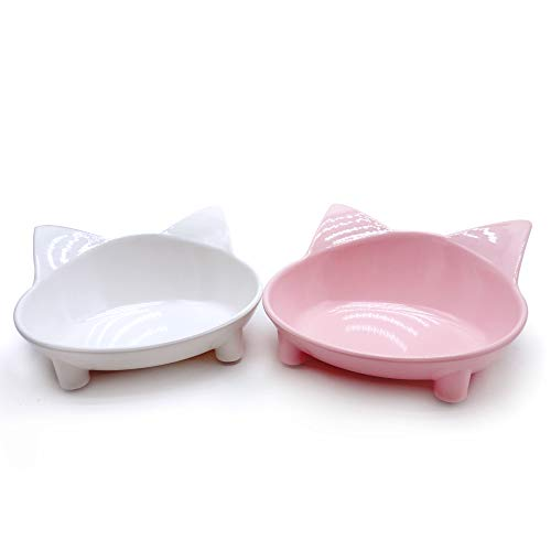 Lorde Cat Bowls,Shallow Cat Food Bowls, Double Wide Cat Dish Non Slip Cat Feeding Bowls for Relief of Whisker Fatigue Pet Food & Water Bowls Set of 2