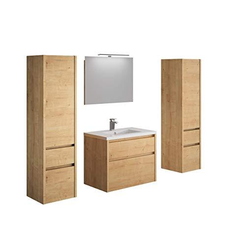 Allibert Badmöbel Set Unterschrank 80 cm Waschbecken Spiegelschrank Seitenschrank vormontiert Eiche