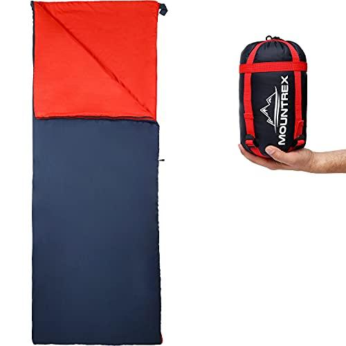 MOUNTREX® Schlafsack - Kleines Packmaß & Ultraleicht (730g) Sommer Deckenschlafsack - Outdoor Sommerschlafsack – Camping, Reise, Festival – Koppelbar