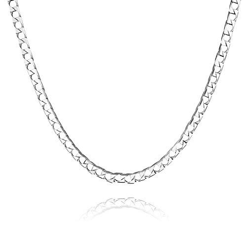 STERLL Herren Halskette Echt Silber 60cm Ohne Anhänger Geschenkverpackung Männer Valentinstag Geschenk