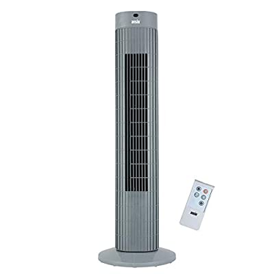ANSIO Tower Fan 30-inch with Remote For Home and Office, 7.5 Hour Timer, 3 Speed Oscillating Fan with 2 Year Warranty - Grey