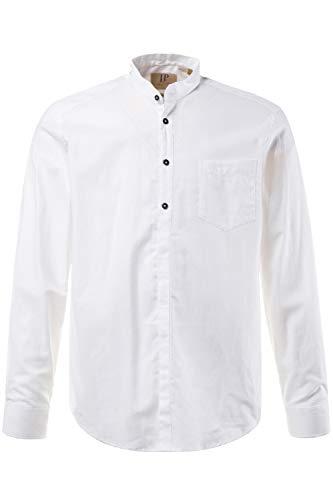 JP 1880 Herren große Größen bis 8XL, Hemd, Oberteil, Leinen-Baumwoll Mischung, Modern Fit, Stehkragen & Brusttasche, weiß 5XL 708636 20-5XL