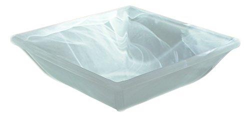 Budawi® - Alabaster Brunnenschale eckig weiß Ink. Einlage, 23 x 23 cm Glasschale für Nebler und Zimmerbrunnen