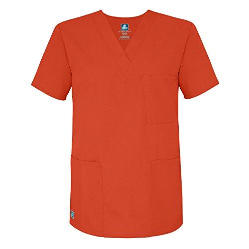 Adar Universal Unisex Scrubs - V-Neck Tunic Scrub Top - 601 - Mandarin Orange - L