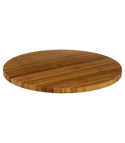 Bandeja de queso de bambú giratoria, tabla de queso para almuerzo, comida, picnic, cocina (redonda, 35 cm)