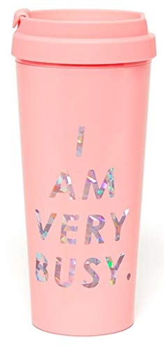 Ban.do Hot Stuff Insulated Thermal Mug with Saying, 16 Ounce Travel Tumbler, I Am Very Busy (pink)
