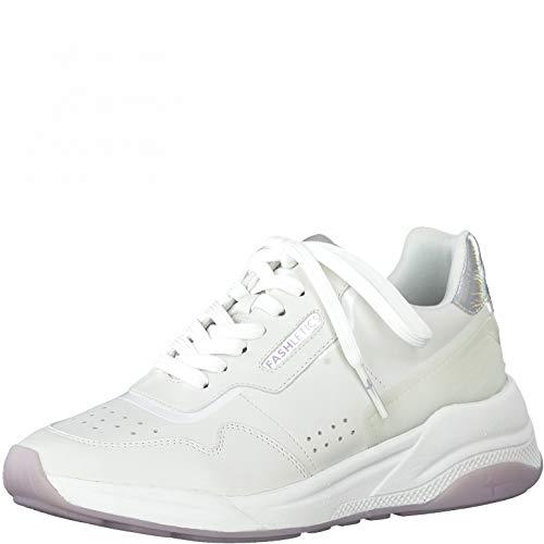 Tamaris Damen Low-Top Sneaker, Frauen Halbschuhe,lose Einlage,schnürschuhe,schnürer,Halbschuhe,straßenschuhe,keil,Sneaker,White Comb,37 EU / 4 UK