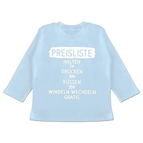 Statement Sprüche Baby - Preisliste simpel - weiß - 3/6 Monate - Babyblau - Preisliste - BZ11 - Baby T-Shirt Langarm