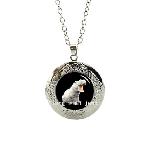 Collar único medallón de cristal Cabujón Bronce plateado Tradición hipopótamo colgante collar de joyería animal