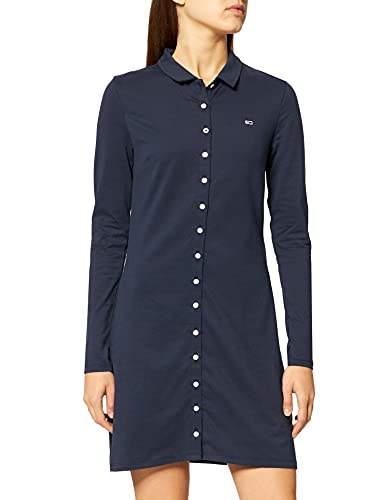 Tommy Jeans Tjw LS Button Thru Polo Dress Vestido, Azul Marino (Twilight Navy), S para Mujer
