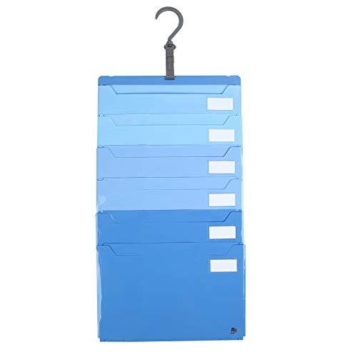 ジット ファイル仕分け上手 A4 6ポケット 壁掛け・たためる2wayファイル (ブルー)