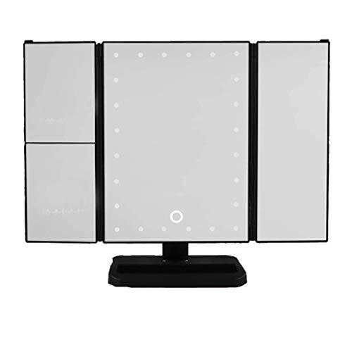 Miroirs à main LED bureau miroir de maquillage Lampe pliant Lumière d'appoint Tri-fold Miroir Chambre Maison HD miroir maquillage (Color : Black)