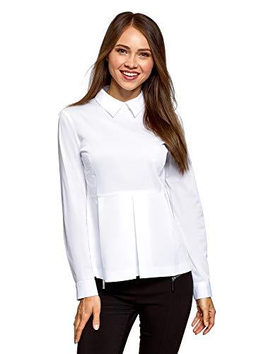 oodji Ultra Mujer Blusa de Algodón con Volante, Blanco, ES 44 / XL