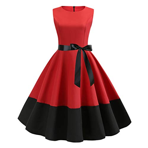 WFRAU Ärmellos Retro Einfarbig 1950er Cocktailkleid Für Damen Frauen 2 Stück Farbspleiß Vintage Abendkleider mit Taillengürtel Prom Abschlussball Swing Kleid Abend Party Kleider Formelle Kleidung