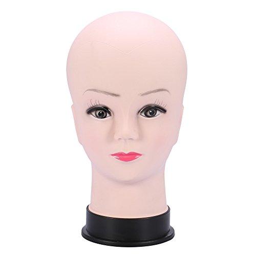 Fransande Tete de Mannequin en PVC, modele Feminin, Fabrication de Perruque, Affichage de Chapeau, avec Maquillage de Cils de Base ,Entrainement Pratique, modele de Tete Chauve