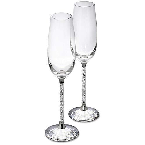 Ltong Champagne Fluiten Wijnglas Kristallijn Luxe Bruiloft Roosterglazen Goblet Kristal Steentjes Design, 1 stuks, 250ml