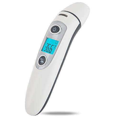 Hkiytime Termómetro Digital Con Función de Memoria y Alarma de Fiebre, Termómetro Infrarrojo Sin Contacto Adecuado para Niños, Adultos, Ambiente y Objetos