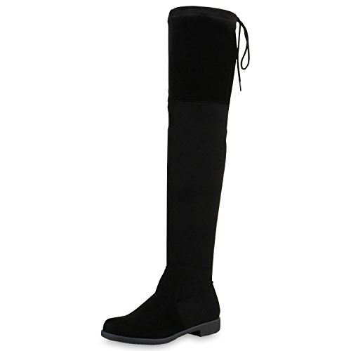 SCARPE VITA Damen Overknees Leder-Optik High Stiefel Boots Basic Look 164146 Schwarz 36