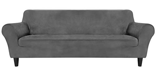 MR.COVER Funda para sofá de 3 plazas, color gris claro, extensible y resistente al desgaste, de poliéster, antideslizante, para sofá de 190 a 230 cm de largo